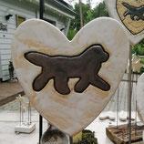 Keramik-Herz mit Neufundländer
