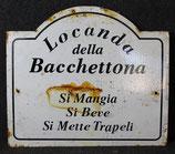 ANTICA TARGA IN LATTA SMALTATA LOCANDA DELLA BACCHETTONA 1940.