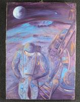 """''L'ASTRONAUTA"""",olio su tela ANNI 70. FIRMATO."""