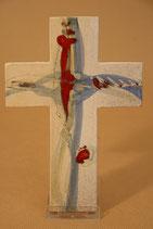 Kreuz rot blau