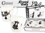 2 Kaffee Tassen Crazy Cats + Karton 0,4L Verrückte Katzen 400ml Becher 017-2602