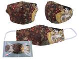 Gustav Klimt Gesichts Nasen Mund Maske Stoffmaske Polyester Mundbedeckung Adele Bloch-Bauer braun 021-9803