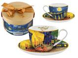 Vincent Van Gogh Kaffee Set Cafe Terrace at Night + Karton 280ml Tasse + 15cm UT