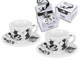 4 tlg Espresso Set Crazy Cats 1.Wahl + Geschenkkarton 0,1L Verrückte Katzen 3006