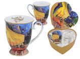 2 Tassen Vincent van Gogh Terrace at Night + Geschenk Karton in Herzform 0,3L Becher