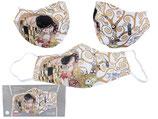 Gustav Klimt Gesichts Nasen Mund Maske Stoffmaske Polyester Mundbedeckung Der Kuß auf weiß 021-9799