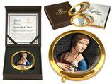 Leonardo da Vinci Dame mit dem Hermelin Taschenspiegel 7,5cm Metall Glas + Karton 181-1202