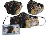 Gustav Klimt Gesichts Nasen Mund Maske Stoffmaske Polyester Mundbedeckung Adele Bloch-Bauer schwarz 021-9802
