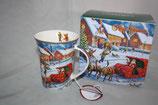 Christmas mug Becher Tasse + Karton 0,3L Weihnachtsmann m. Rentierschlitten 9034