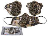 Gustav Klimt Gesichts Nasen Mund Maske Stoffmaske Polyester Mundbedeckung Expectation Erwartung 021-9808 auf schwarz