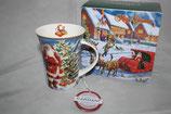 Christmas mug Becher Tasse + Karton 0,3L Weihnachtsmann m. Weihnachtsbaum 9035