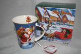 Christmas mug Becher Tasse + Karton 0,3L Weihnachtsmann m. Geschenken 9036