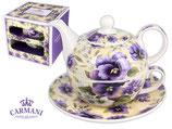 Pansies Tea for one Set 450ml Kanne + 350ml Tasse + Untertasse Stiefmütterchen