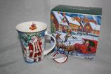 Christmas mug Becher Tasse + Karton 0,3L Weihnachtsmann mit Rentier 9037