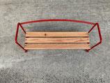 Sitzbank Beifahrer - mit Holzlattung (rot, lackiert, 3Latten , 20cm Breit)