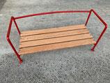 Sitzbank Beifahrer - mit Holzlattung (rot, lackiert, 4Latten , 27cm Breit)