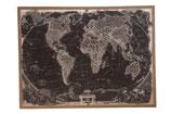 Wereldkaart op linnen zwart