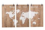 Houten wereldkaart 3 luik