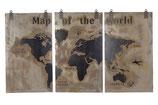 Houten wereldkaart afgewerkt met een betonlaag