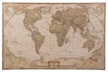 Wereldkaart  op linnen multicolor