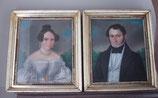 Fantastisches Paar antiker Porträts Pastell um 1850
