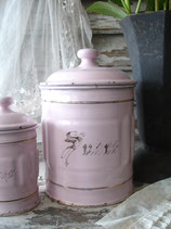 Selten: Alte französische Emaille Vorratsdosen rosa  2-er Set