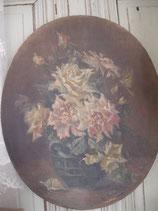Antikes großes Gemälde Rosenbouquet Frankreich 19. Jahrh.