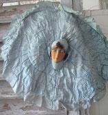 Antike Kissenhülle mit Boudoirpuppenkopf Frankreich