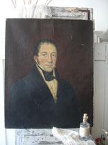 Antikes sehr großes Herren Porträt Öl auf Leinen - Frankreich