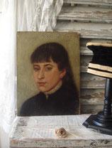 Antikes kleines Ölgemälde einer jungen Dame Frankreich