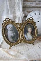 Dekorativer ovaler Doppel Bilderrahmen Frankreich