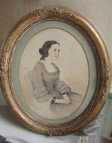 Zauberhaftes antikes Aquarell einer jungen Dame signiert von 1856