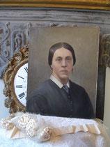 Antikes Damen Porträt Öl auf Karton