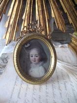 Antiker kleiner Metall Bilderrahmen Frankreich