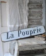 Altes französisches Emaille Ortsschild La Pouprie