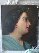 Antikes kleines Ölgemälde einer Dame Frankreich 19. Jahrh.