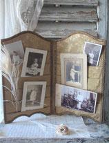 Schöner alter Stoff Bilderhalter / Paravent Frankreich