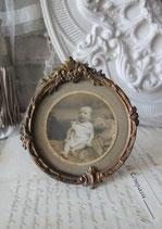 Antiker runder Messing Bilderrahmen Frankreich