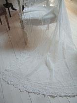 Wunderschönes Set alter bestickter Tüll Gardinen Frankreich