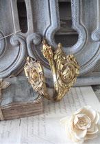 Antikes Set Messing Gardinenhalter aus Frankreich