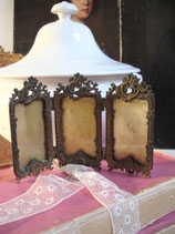 Antiker Messing Rahmen Triptychon Bilderrahmen Rocaille Frankreich