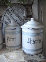 Zauberhaftes Set alter französischer Emaille Vorratsdosen