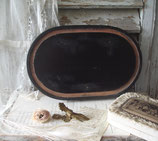 Altes schwarzes Holzplateau aus Frankreich Boudoir