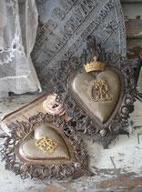Paar antike Votive / Flammende Herzen (2 Stück)