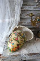 Riesiges altes Pappmaschee Ei Candy Container