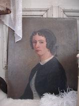 Antikes Damen Porträt Öl auf Leinen - Frankreich 1864