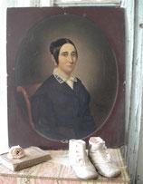 Antikes Damen Porträt Öl auf Karton Frankreich 1847
