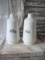 Shabby: Set alter Keramik Vorratsgefäße Essig & Oel