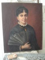 Antikes großes Damen Porträt Öl auf Leinen Ende 19. Jahrh.