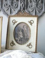 Antiker großer Messing Rahmen Bekrönung um 1880